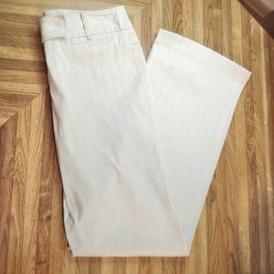 EUC Light Beige Textured Stripe LOFT Ann Pants - 2